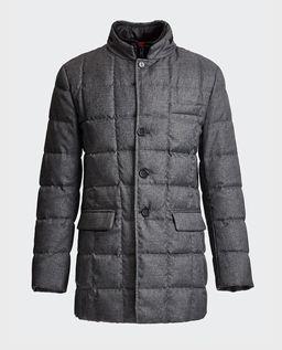 Szary pikowany płaszcz