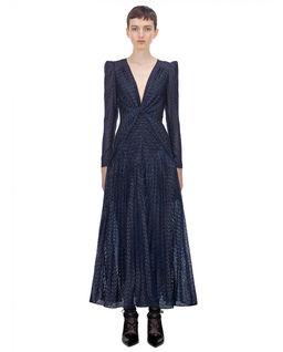 Granatowa sukienka z metaliczną nicią