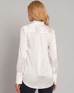 Biała koszula jedwabna z długimi mankietami