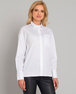 Biała koszula z ukrytymi guzikami