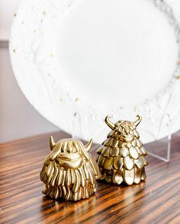 Solniczka i pieprzniczka ze złotem