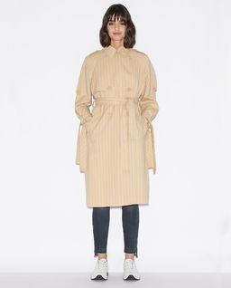 Beżowy prążkowany płaszcz