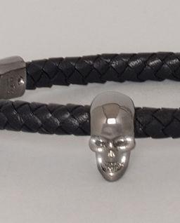 Skórzana bransoletka z czaszką