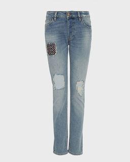 Jeansy z naszywkami staight-slim