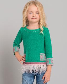Zielony sweter z piórami