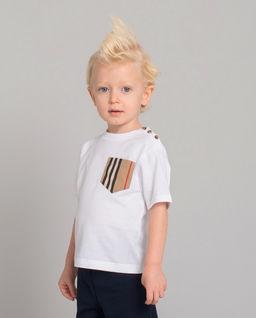 Biała koszulka z kieszonką 0-2 lat