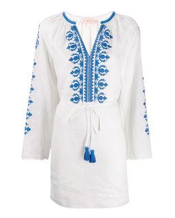 Lniana sukienka z wzorem