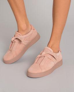 Zamszowe sneakersy nude Clarita