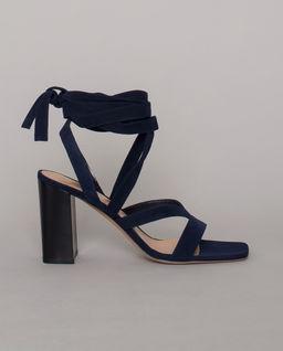 Granatowe sandały z wiązaniem