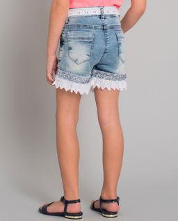 Krótkie spodenki jeansowe z koronką