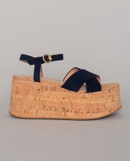 Granatowe sandały na platformie