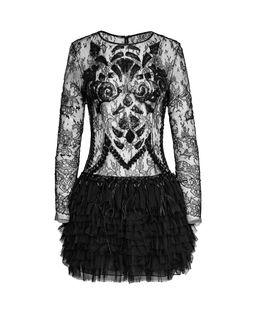 Czarna suknia z falbanami Ritz
