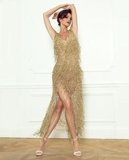 Złota suknia z frędzlami Solenne