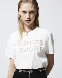 Beżowy t-shirt z logo
