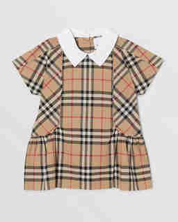 Sukienka w kratę z kołnierzykiem 0-2 lat