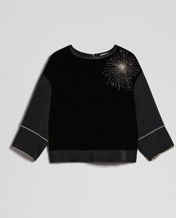 Aksamitna bluza z aplikacją
