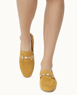 Żółte zamszowe loafery