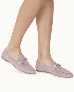 Różowe zamszowe loafery