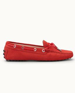 Czerwone mokasyny Gommino Driving