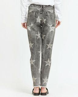 Szare spodnie jeansowe w gwiazdy