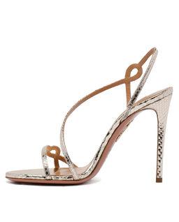 Złote sandały na szpilce Serpentine
