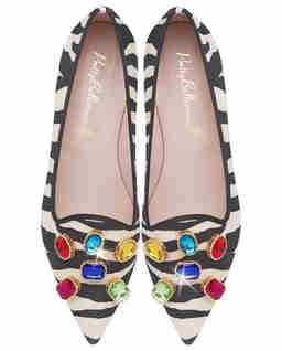 Loafery w zebrę z kryształami