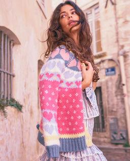 Kolorowy sweter z wełny