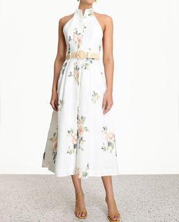 Lniana biała sukienka