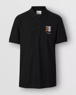 Czarna koszulka z kołnierzem polo