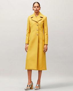 Żółty płaszcz z wełny