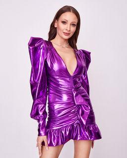 Metaliczna sukienka z bufkami