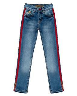 Jeansy z czerwonymi lampasami