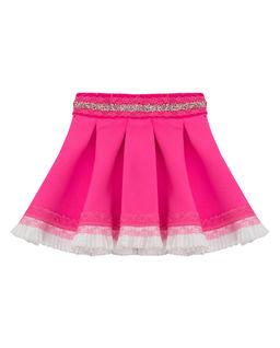 Różowa spódnica z koronką