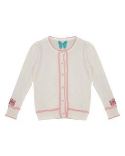 Sweter z różową lamówką