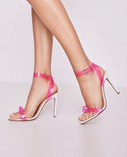 Dwukolorowe sandały na obcasie