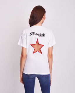 Biały t-shirt z wycięciem na plecach