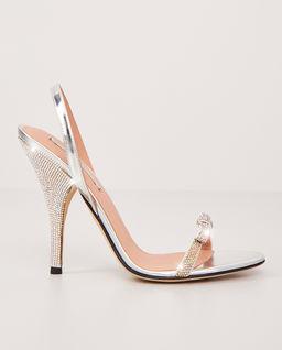 Sandály na podpatku s krystaly