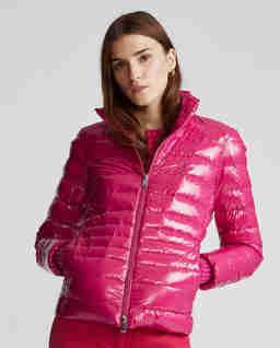 Růžová péřová bunda