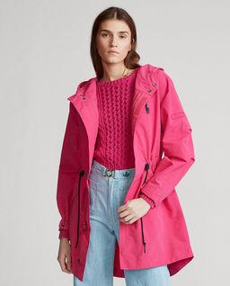 Różowa kurtka przeciwdeszczowa