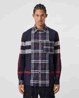 Granatowa koszula w kratę
