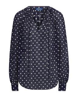 Czarna bluzka w kropki