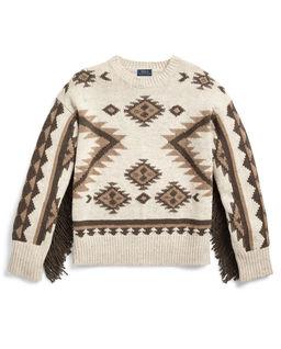 Wełniany sweter z frędzlami