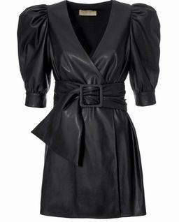 Czarna sukienka ze skóry wegańskiej