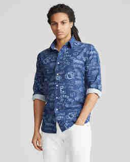 Niebieska koszula z nadrukiem Custom Fit