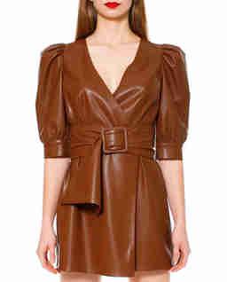 Sukienka mini z wegańskiej skóry