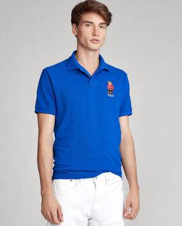 Niebieska koszulka polo z misiem