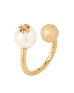 Asymetryczny pierścionek z perłą