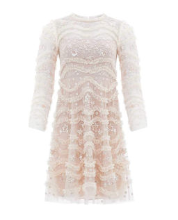 Beżowa sukienka z haftem