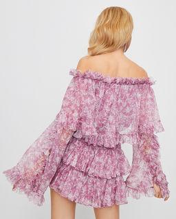 Jedwabna sukienka z odkrytymi ramionami