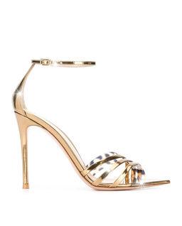 Złote sandały na obcasie